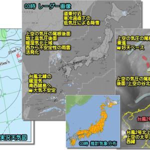 高気圧の晴天優勢も北の雪残り、西は高曇りで南は台風による下り坂(210422)