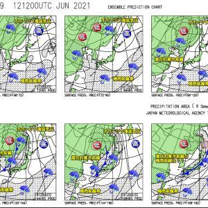 西日本では局地的な大雨?東~北日本は少々梅雨っぽく?(210613)