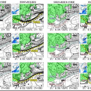 低気圧と潜在的前線 南北2セット北東進!前線南下傾向継続?(210619)