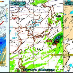 発達した南岸低気圧のち超短時間のプチ冬型?そして再び気圧の谷(211026)