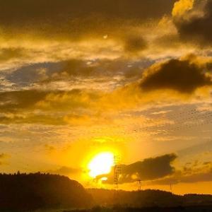 今日の夕陽と虹を見た~ぁ