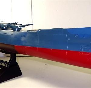 1/500宇宙戦艦大和 制作記2 菊花紋章設置 主砲・艦橋位置決め