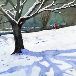 市街地雪景色