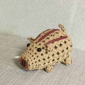 イノシシを石畳編みで