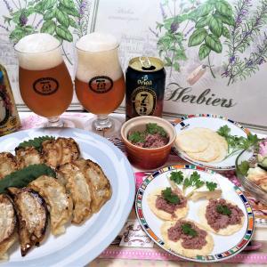 オリオンビールに合うお家ご飯編♪ギョーザとレバーペーストなど