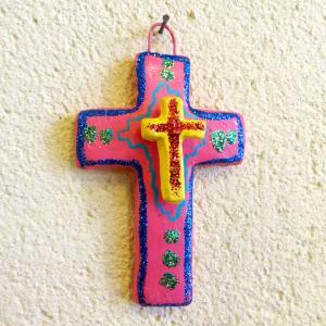 メキシコのカラフルな陶器の十字架[Pick Up]