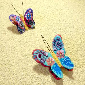 メキシコのフラワーペイントのブリキの蝶[Pick Up]