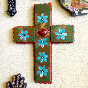 メキシコのブリキのペイント十字架大きめ[Pick Up]