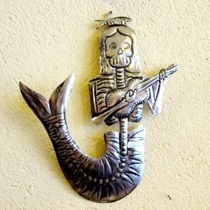 メキシコの人魚のガイコツのブリキオーナメント[Pick Up]