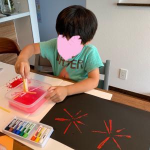 【雨の日のお家遊び】家にある物で絵の具スタンプ遊び