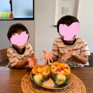 【おやつ作り】子供と白玉フルーツポンチを作ってみた。
