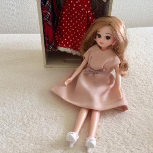 100均の布でピンクのリカちゃんドレスを製作