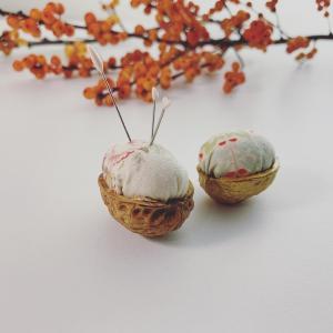 ころんと可愛い♪クルミの殻で作るピンクッション♪【動画付き】