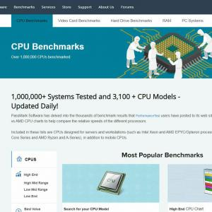 passmark cpuやビデオカードの戦闘力を調べるサイト