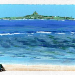 沖縄の海を描く
