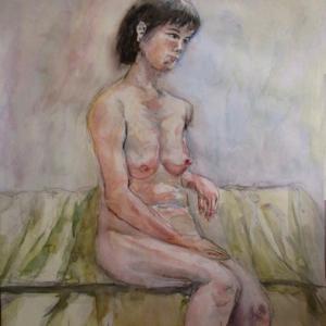 裸婦を水彩で描く