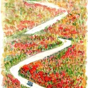立山アルペンルートの紅葉を描く