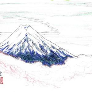 富士山をボールペンで描く