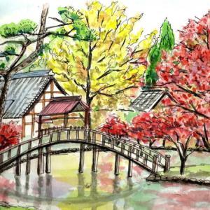 多治見・永保寺の紅葉を描く