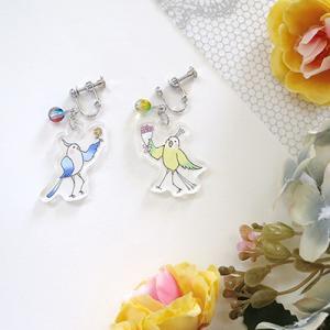 鳥と花束 イヤリング・ピアス