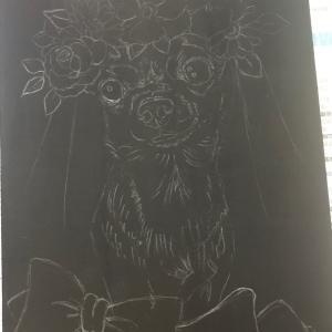 犬絵チョークアート5作目、ピノちゃん