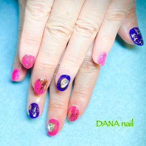 オリエンタルなボタニカル柄◆ピンク×紫のベリーダンスネイル