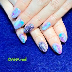 パステルブルー×紫★指が長く見えるニュアンスネイル
