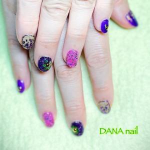 紫×ピンク×ゴールド★キラキラ華やかなベリーダンサーネイル