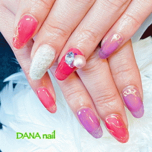 シアーな赤×紫★ゴールドミラーパウダーアートネイル