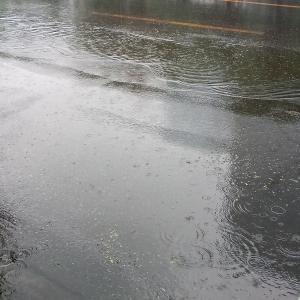 雨の日は歩道でも油断できません。