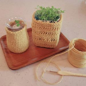 久しぶりの編み物鉢カバー