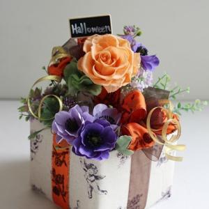 【ボックスアレンジメント】ハロウィン仕様の素敵かわいいボックスアレンジメント