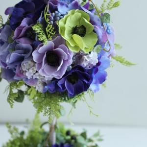 【トピアリー】人気のブルー系❀素敵な花器を使って❀大人なトピアリー制作