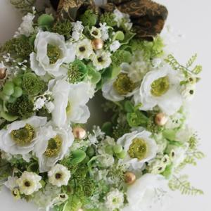 【グリーン&ホワイトのリース】みんな大好きグリーン&ホワイト一年中飾れるリース