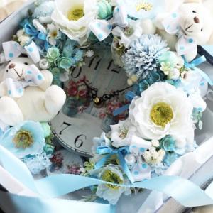【出産のお祝い】花時計&テディベア自分へのプレゼントとしても欲しくなっちゃう程の可愛さ
