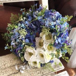 【リースレッスン】夏のリース制作♡ ブルーのリースは季節を選ばず飾れますね☆彡