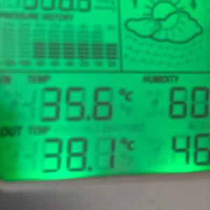 外気温38.1度 湿度46%