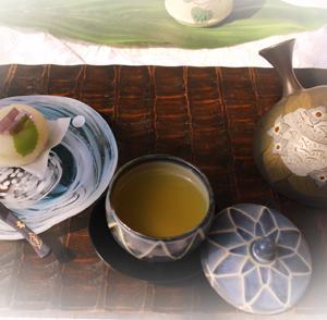 ★☆紫陽花和菓子・今日はかぶせ茶で♪☆★