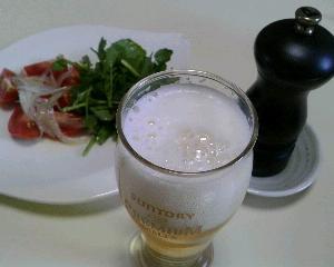 昼食とビール