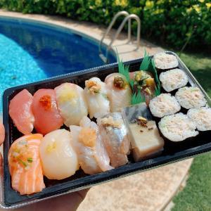 外で寿司ランチ