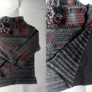 セーターの幅出しと裾だし。