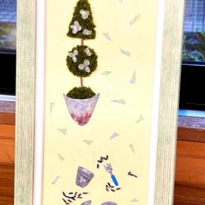 プリザーブドフラワーピクチャ―初級コース作品「ガーデンツール トピアリー」