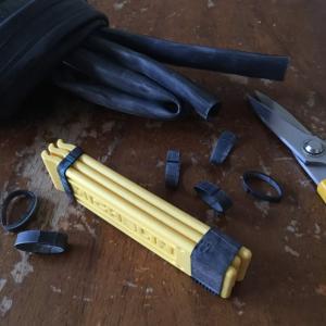 【アップサイクル】自転車タイヤの廃チューブ輪ゴムの使い方。タイヤレバーをまとめる
