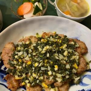 豚ヒレ肉のグレモラータ風味がメインの夕食です。