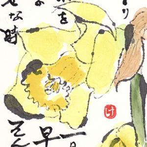 絵手紙 黄水仙