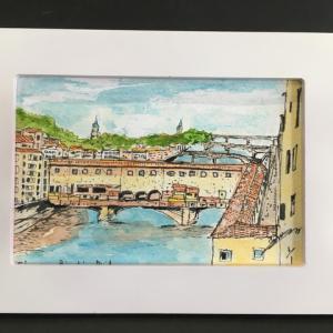 2019年273回 フィレンツェの秋はビッキオ橋とともに   10月13日描く