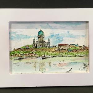 2019年277回 ハンガリー エステルゴムの光景1    10月18日描く