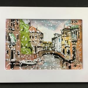 2019年283回 ヴェネチア リカルト橋に雪が降る  10月24日描く
