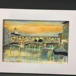 2019年323回 イタリア 11月13日 フィレンツェ ヴェッキオ橋の夕暮 12月12日描く
