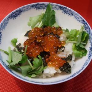「めで鯛ご飯」は、いくらの濃厚な旨味と、焼き海苔の香りと旨味!三つ葉の整列な香りが響きあって…心躍る… まさに、めでたいお味♪ 中野・酒と肴 万作